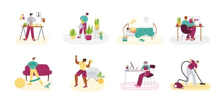 Stay home concept - people and home activities for covid-19 quarantine isolation - cooking, cleaning, dancing, sport exercise and resting, flat cartoon characters isolated on white vector illustration