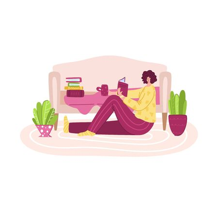 Woman reads book in cozy home rooms - home activities and literature fans concept, girl rests or studies at home, flat cartoon female textured characters isolated on white - vector illustration