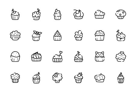Outline cupcakes icon set - vector isolated symbols or pictograms on white, sweet food or desserts icon suitable for application, web site. Line cakes, muffins or bakery products illustration