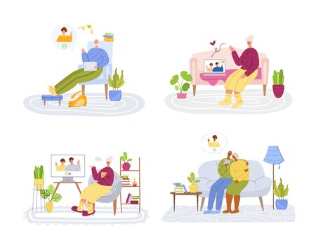 Elderly people and online communication - children or young relatives call grandparents, online chatting video call concept, social distance isolation and connection with devices vector illustration Ilustración de vector
