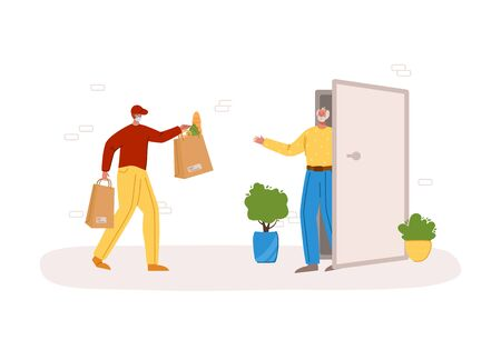Safe delivery concept - delivery of products or parcels to home to front door, express courier service for sineors or old people on self isolation, courier man in mask - flat cartoon vector.