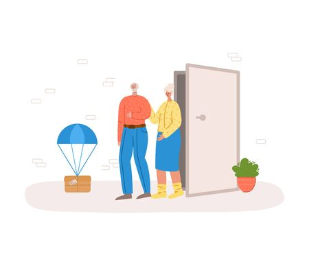 Safe delivery concept - contact less delivery of parcels to home to front door, express courier service for sineors or old people on quarantine self isolation - flat cartoon vector.