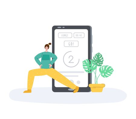 The girl doing sports exercises at home, mobile application for online training or wokout. Woman doing lunges next to smartphone or device screen. Indoor sport for self-isolation time. Vector isolated
