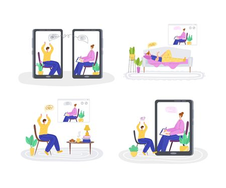 Psychological servise online, personal assistance. Upset people calling to psychologist. doctor and costumers on device screen on individual online home therapy session, helpful consultation - vector Illustration