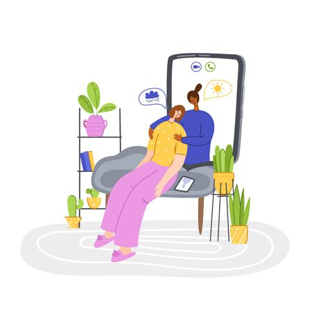 Psychological servise online, personal assistance. Upset girl trouble crying and calling to psychologist. doctor on device screen on individual therapy session, helpful consultation or support, vector Illustration