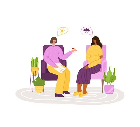 Psychological services - personal support, assistance in cozy office or at home. Upset girl in trouble listening to psychologist doctor, individual helpful therapy session or consultation vector Vector Illustration