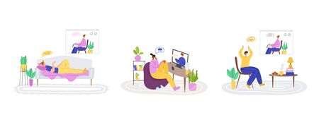 Upset people talking with psychologist, individual helpful therapy session or consultation Vector Illustration