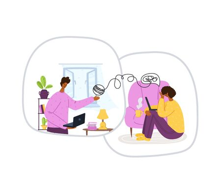 Psychological online services - personal distance support or assistance at home by internet. Upset girl crying and talking with psychologist online, individual therapy session or consultation vector Ilustracje wektorowe