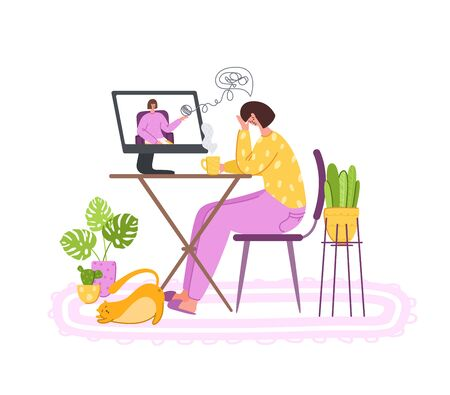 Psychological online services - personal distance support or assistance at home by internet. Upset girl crying and talking with psychologist, individual helpful therapy session or consultation vector Illustration
