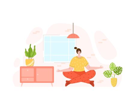 Girl doing sport exercises at home. Indoor yoga workout and meditation concept. Home activity for people health, relaxation and calm. Woman doing yoga in living room - vector illustration on white Иллюстрация