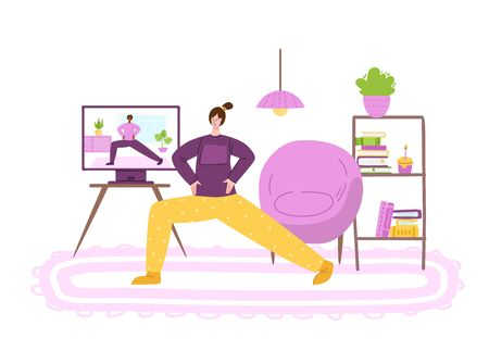 Woman doing sport exercises at home in living room. Indoor online training or workout concept by internet. Home activity for people health. Girl doing fitness lunges - vector illustration on white Иллюстрация