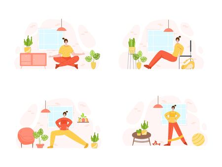 Women doing sport exercises at home. Indoor training or workout concept. Home activity for people health. Girls doing fitness in living room with simple equipment - vector illustration on white Иллюстрация