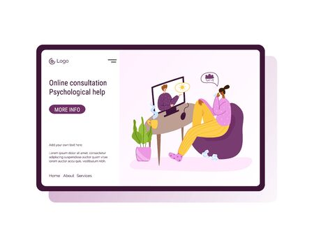 Psychological online services landing page template - distance support at home by internet. Upset girl crying and talking with psychologist, individual helpful therapy session or consultation vector