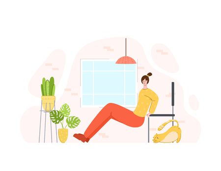 Girl doing sport exercises at home. Indoor training or workout concept. Home activity for people health. Woman doing fitness in living room with simple equipment - vector illustration on white