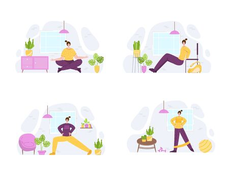 Women doing sport exercises at home. Indoor training or workout concept. Home activity for people health. Girls doing fitness in living room with simple equipment - vector illustration on white Illustration