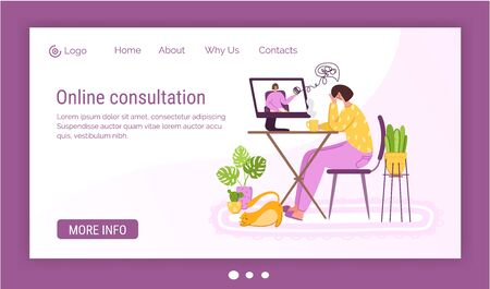 Psychological online services landing page template - pset girl talking with psychologist in video chat or by video call, individual distance therapy session or consultation by internet - vector
