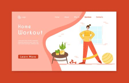 Landing page template woman doing sport exercises at home with fitness ball and ribbon. Indoor workout concept. Home activity for people health. Girl doing sport in living room - vector illustration