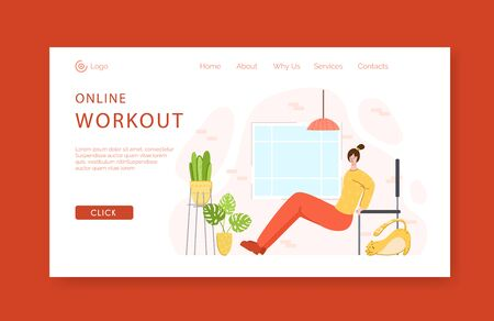 Landing page template - woman doing push ups exercises at home with chair. Indoor fitness workout concept. Home activity for people health. Girl doing sport in living room - vector illustration