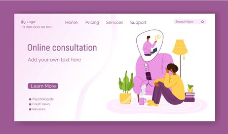 Psychological online services landing page template - girl talking with psychologist by video call and smart phone at home, individual distance therapy session or consultation by internet - vector Çizim
