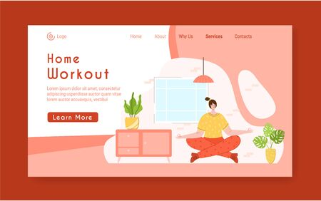 Landing page template - woman doing yoga and meditation at home. Indoor fitness yoga workout concept. Home activity for people health and calm. Girl doing sport in living room - vector illustration