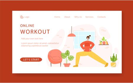 Landing page template - woman doing lunges exercises at home. Indoor fitness workout concept. Home activity for people health and calm. Girl doing sport in living room - vector illustration