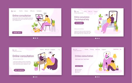 Psychological online services landing page template - distance support at home by internet and video calls. Upset people talking with psychologist, individual therapy session or consultation - vector Illustration