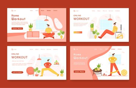Landing page template set woman doing sport exercises and yoga at home. Indoor fitness workout concept. Home activity for people health and calm. Girl doing sport in living room - vector illustration