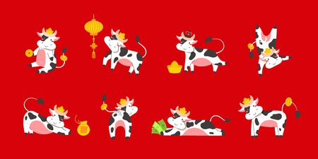 Chinese new year of white ox 2021 zodiac - vector set bulls or cows, flat cartoon animals for holiday cards, posters and home decorations, cute characters with golden coins for luck - isolated on red