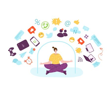 Digital detox - happy girl is meditating and relaxing. Woman in lotus pose and mobile phone, devices, gadgets. Freedom from smartphones, social media and internet. Disconnect from information - vector