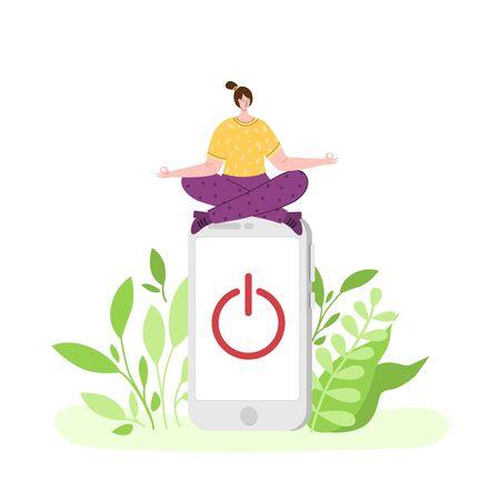 Desintoxicación digital: la niña feliz está meditando y relajándose. Mujer en miniatura en posición de loto y teléfono móvil huhe. Libertad de teléfonos inteligentes, redes sociales e Internet. Desconecte los dispositivos fuera de línea - vector