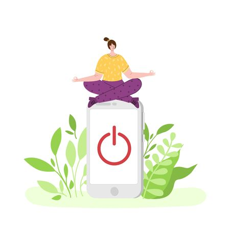 Digital detox - happy girl is meditating and relaxing. Miniature woman in lotus pose and huhe mobile phone. Freedom from smartphones, social media and internet. Disconnect offline devices - vector