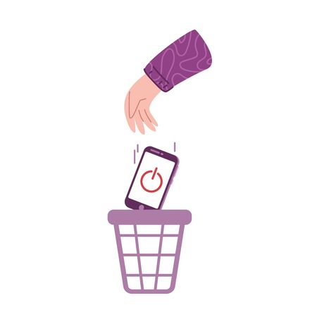 Digital detox and disconnect - person throws out turned off mobile phone into trash basket. Freedom from smartphones, social media, internet, information - vector illustration on white