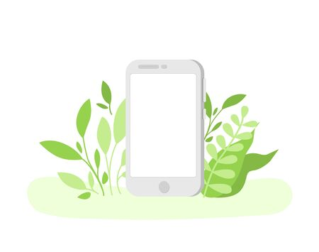 Digital detox and disconnect - empty mobile phones screen with copy space for text, turned off device or gadget. Freedom from smartphones, social media, internet, information - vector Illustration