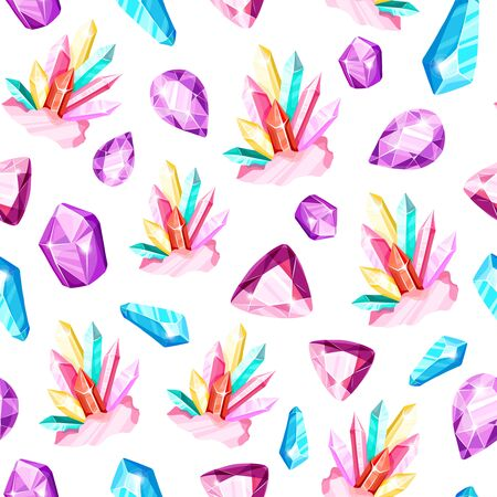 Crystal seamless pattern - colorful blue, golden, pink, violet, rainbow crystals or gems on white background, endless background with gemstones, minerals, diamonds, flat vector for textile, wrapping