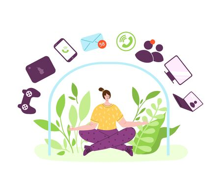 Digital detox - girl is meditating relaxing on natural background. Woman in lotus pose and mobile devices, gadgets, green leaves. Freedom from smartphones, disconnect social media and internet vector