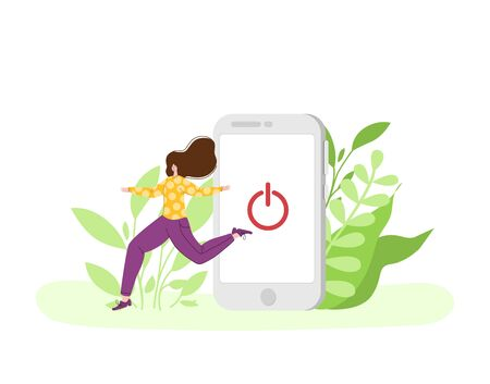 Digital detox - miniature happy girl is going out from huge mobile phone. Woman on natural landscape. Freedom from phones, social media and internet. Relax and disconnect gadgets concept - vector