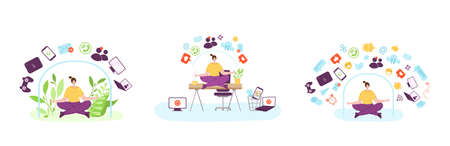 Digital detox - happy girl is meditating on work place in office. Woman in lotus pose on desk and devices, gadgets. Freedom from smartphones, social media, internet. Disconnect from information vector