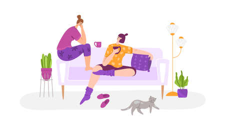 LGBT concept - couple of gay women together in living room chatting, smiling. Same sex young lesbian female romantic couple in their daily routine. Sweet evening together at home, flat cartoon vector Иллюстрация