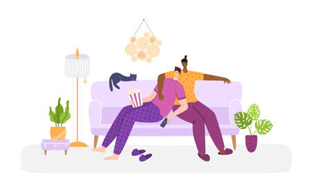LGBT concept - couple of gay men together in living room chatting, watching tv. Same sex young male romantic couple in their daily routine. Sweet evening together at home, flat cartoon vector