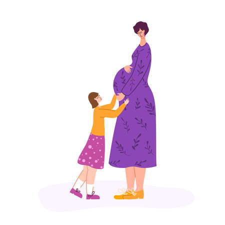 Pregnancy and motherhood concept - beautiful pregnant woman waiting for a baby. Happy mom and her little daughter, girl is expecting baby - Vector illustration for card, poster and more Иллюстрация