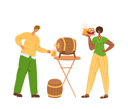 People on beer festival or Oktoberfest event - man and girl together with beer mug and festive food. Celebration concept - traditional colors, casual clothes. Fun and joiness - vector characters