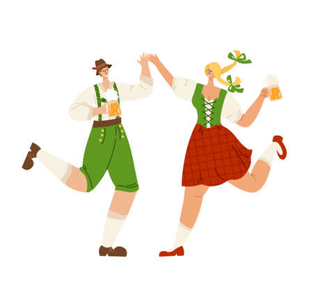Oktoberfest event or beer festival - man and girl together dancing, holding beer mugs. People celebrating in traditional bavarian costumes on party. Funny flat vector characters isolated