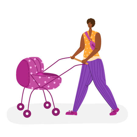 motherhood concept - beautiful african american woman walking outdoors with baby carriage. Happy mom and her little child, girl in casual clothes - Vector illustration for card, poster and more Иллюстрация
