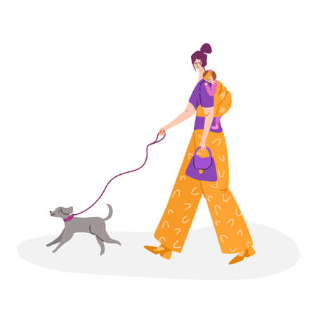 motherhood concept - beautiful young woman walking with little baby in sling. Happy mom and her child and cute dog, girl in casual clothes - Vector illustration for card, poster