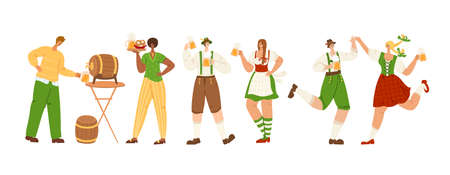 Oktoberfest event or beer festival - group of people together dancing, holding beer mugs, celebrating in traditional bavarian costumes on party. Men and women have fun - vector characters isolated Иллюстрация