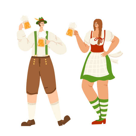 People on beer festival or Oktoberfest event - man and girl together hold beer mugs. Celebration concept - traditional bavarian costumes for party. Fun and joiness - vector characters isolated