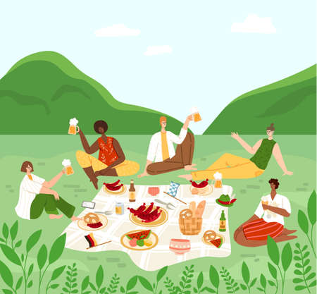 Oktoberfest or beer festival event, group of people having a picnic in rural area, men and women chatting, drinking beer, celebrating and eating sausages and pretzels - vector flat characters isolated
