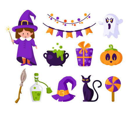 Halloween cartoon set - girl in halloween costume of witch, cute pumpkin, candy, scary creepy ghost, black cat, cauldron and potion, festive flags, violet gift box, holiday symbols - isolated vector
