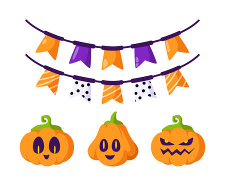 Halloween cartoon set - cute carving pumpkin jack lantern, scary creepy faces, and festive garland with flags - holiday symbols isolated vector on white