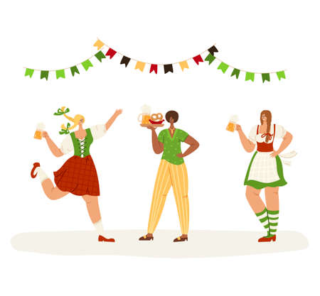 Oktoberfest event or beer festival - group of people together dancing, holding beer mugs, celebrating in traditional bavarian costumes on party. Girls or set of female flat characters isolated vector